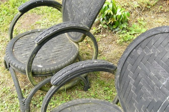 you can use old tires around the garden